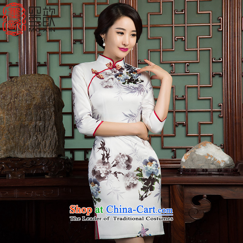The spirit of the new ? bamboo cheongsam with Ms. Qiu improved cheongsam dress improved retro style Sau San 7 cuff cheongsam dress�SZ3C010�picture color�XXL