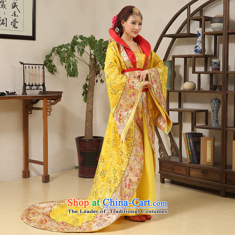 Time Syrian Wu costume clothing Gwi-Tang Dynasty Queen's fairy tails will Han-Princess ancient lady's floor yellow cos are suitable for 160-175cm code
