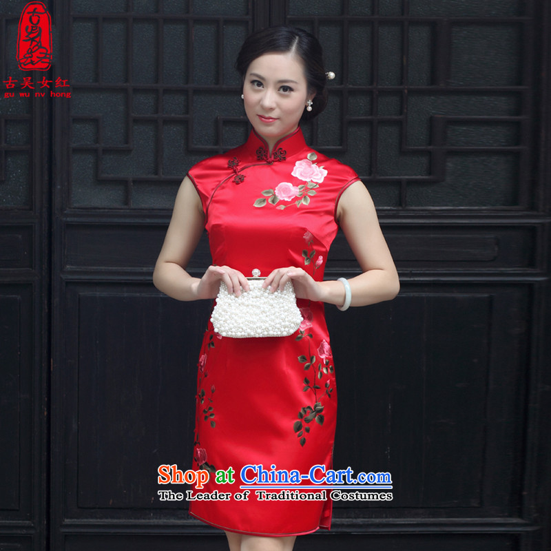 The Wu female red 2015 Summer new cheongsam improved silk pure handicraft embroidery red married women bows service sleeveless female Tang Red燲L