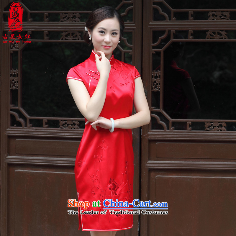 The Wu female red 2015 New Silk Cheongsam dress autumn load bride high-end cheongsam dress short handicraft embroidery, custom red XXL