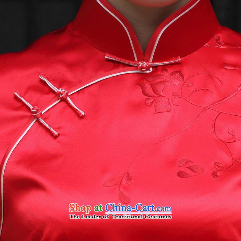 The Wu female red2015 New Silk Cheongsam dress autumn load bride high-end cheongsam dress short handicraft embroidery, custom redXXL, Wu female red , , , shopping on the Internet