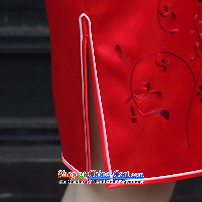 The Wu female red聽2015 New Silk Cheongsam dress autumn load bride high-end cheongsam dress short handicraft embroidery, custom red聽XXL, Wu female red , , , shopping on the Internet