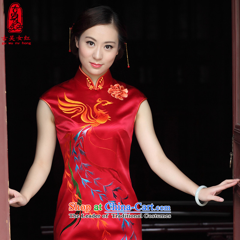 The Wu female red autumn 2015 new cheongsam improved silk pure handicraft embroidery red married women bows service sleeveless female Tang Red L