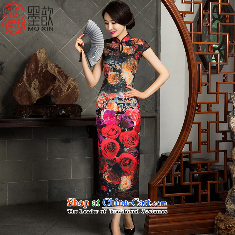 Print with floral displays 2015 Long 歆 qipao fall inside the new mother replacing cheongsam dress temperament retro qipao improvement long skirt M11020 qipao picture color XL