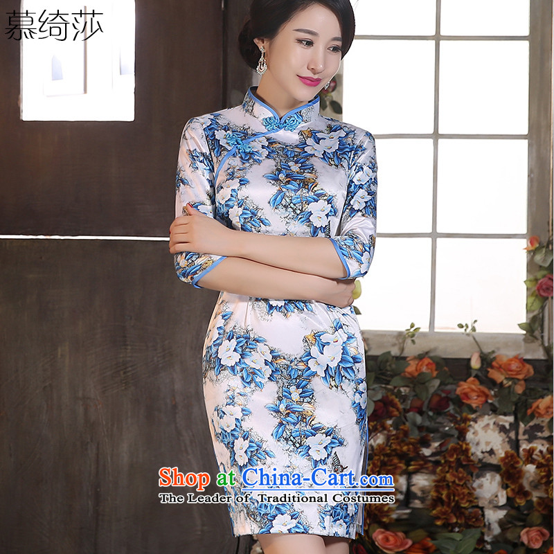 The cross-sa snow爎etro cheongsam dress new 2015 Autumn_ replacing qipao improved Seven stylish cuff cheongsam dress in long燴A98001燱hite燲L