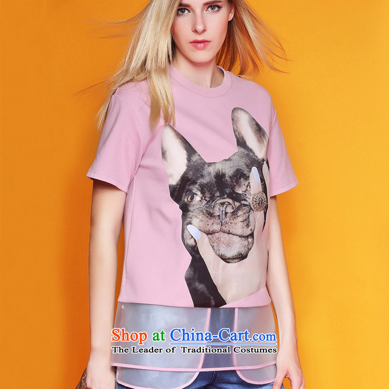 Web soft clothes for the new autumn 2015 for women stamp pets pattern the yarn short-sleeved T-shirt and women kit 353B306 pink燬