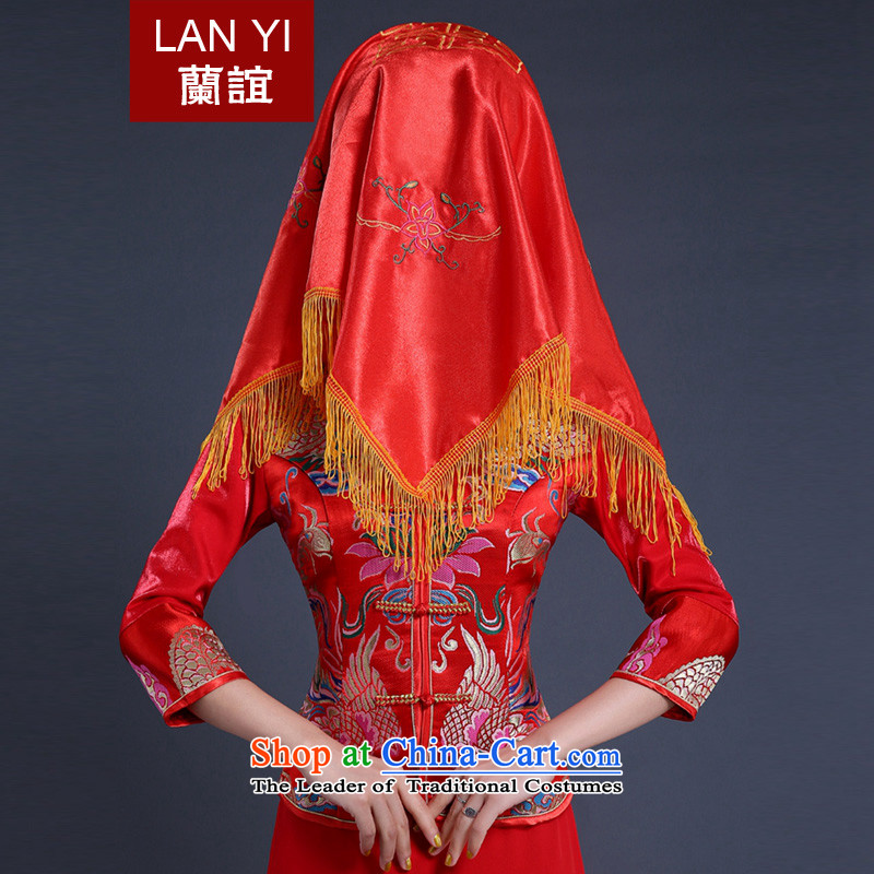 In the new marriage celebration friends Red Shawl wedding supplies bride dowry d lid marriages accessories red and legal embroidery red cap