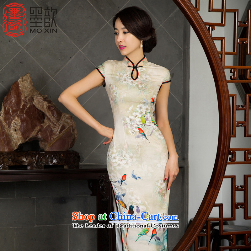The picture in Dongjak 歆 2015. Long cheongsam dress improved retro style qipao new autumn long load qipao gown M11024 Ms. picture color XL