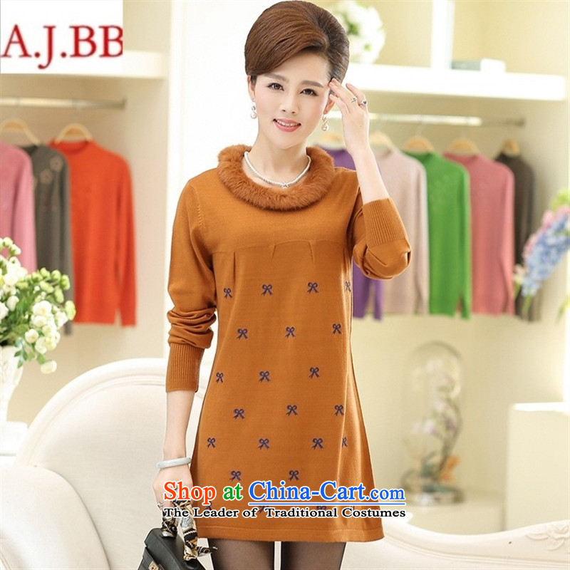 Orange Tysan _2015 older new stylish stamp in Sau San long long-sleeved Knitted Shirt with mother aged 40-50 T-shirt Navy Blue?115