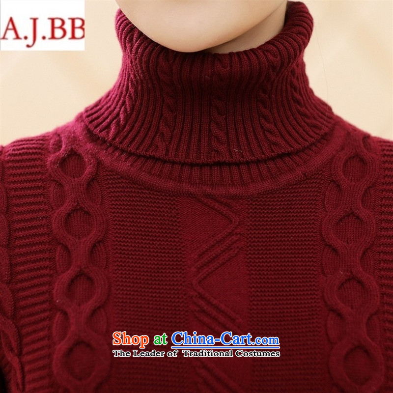 Orange Tysan * new middle-aged female winter clothing long-sleeved sweater MOM pack trendy Sau San code Solid Color High-collar, forming the woolen sweater black 115,A.J.BB,,, shopping on the Internet