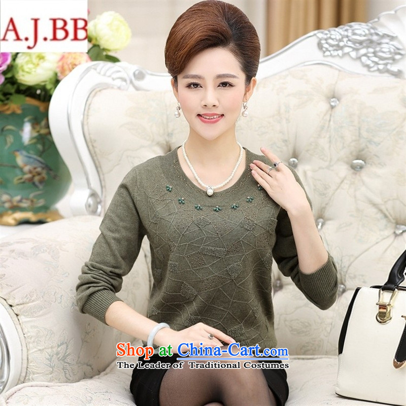 Orange Tysan_ women older knitted shirts autumn middle-aged women 40-50-year-old mother knitted sweaters shirt women drill Hot Red聽110