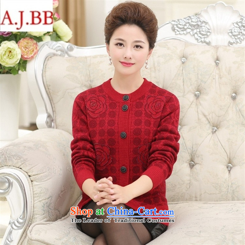 Orange Tysan _ autumn and winter in the new Elderly Women Knitted Shirt loose large thick code mother woolen coats cardigan grandma replacing red XXL