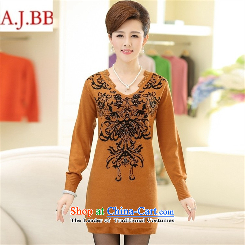 Orange Tysan _ autumn and winter knitted shirts dresses long-sleeved blouses and large relaxd in mother-daughter older lounge wine red?115