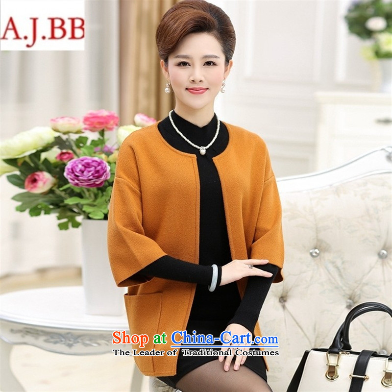Orange Tysan _2015 winter clothing in the new Elderly Women 7 cuff knitted jackets for larger mother in long wool coat Black聽125