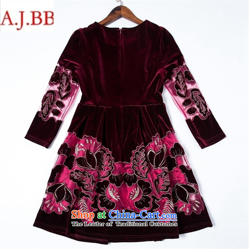 Orange Tysan * load new moms autumn replacing embroidery embroidered dress Korean elderly in temperament Kim scouring pads long-sleeved dresses navy blue聽XXXXL,A.J.BB,,, shopping on the Internet