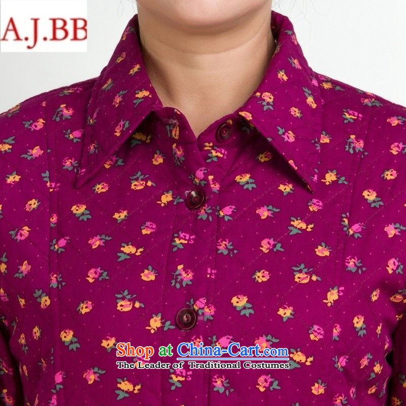 Orange Tysan *2015 Autumn In New Pure cotton shirts stamp older middle-aged women's long-sleeved shirt lapel thick red flowers with mother聽XXL,A.J.BB,,, shopping on the Internet