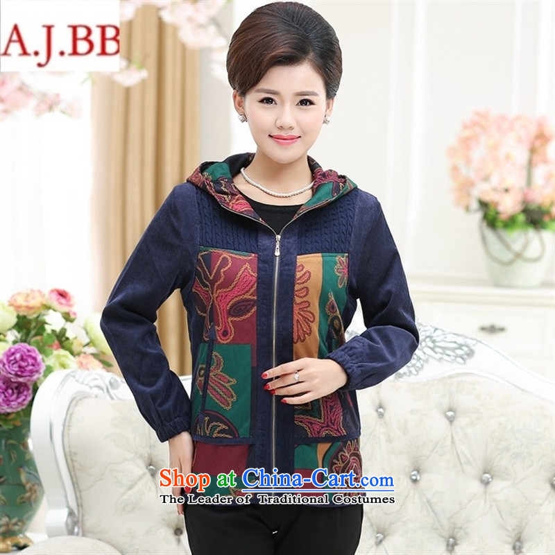 Orange Tysan _ mother coat autumn and winter new elderly women's mother replacing pure cotton with cap stamp cloak grandma blouses female safflower?XL