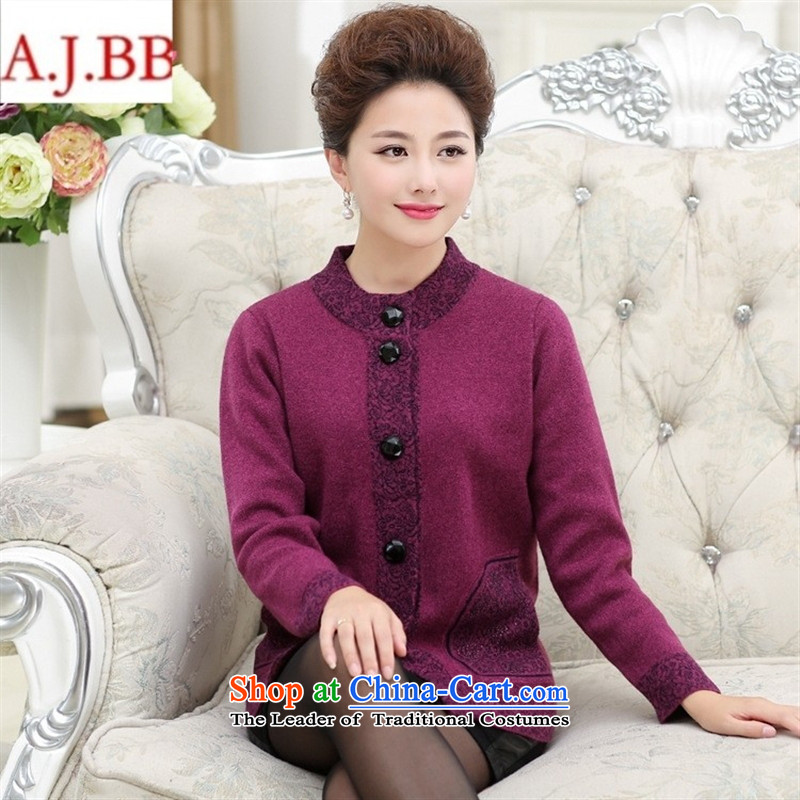 Orange Tysan _ knitting cardigan winter coats of new products in the thick of the elderly mother woolen collar thick larger jacket female red XXL