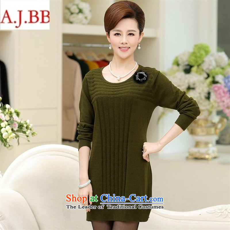 Orange Tysan * load new forming the autumn shirt middle-aged moms sweater pure color loose knitted dresses in long-sleeved long sleeve and Green 115