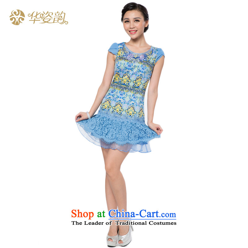 Gigi Lai following the fall 2015 China summer, Ms. Short of qipao package and dresses lace Sau San Video Tang dynasty skirt female thin Chinese Dress temperament elegant blue skirt XXL