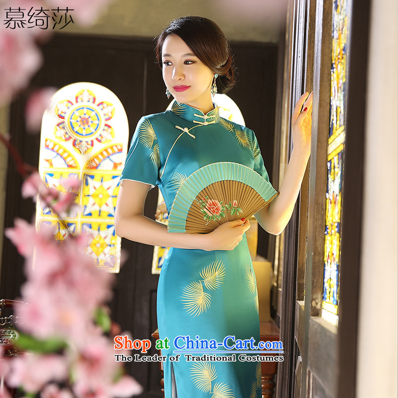 The cross-sa dandelion qipao autumn 2015 retro long load new improved cheongsam dress stylish medium to long term, temperament cheongsam dress ZA9802 picture color L
