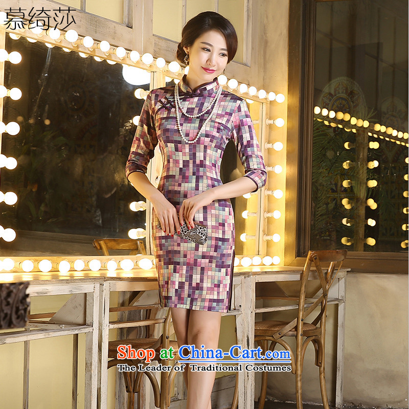 The cross-SA-jae of qipao autumn 2015 improved load Stylish retro cheongsam dress new seven-sleeved qipao gown ZA9803 latticed Ms. Michelle latticed XL