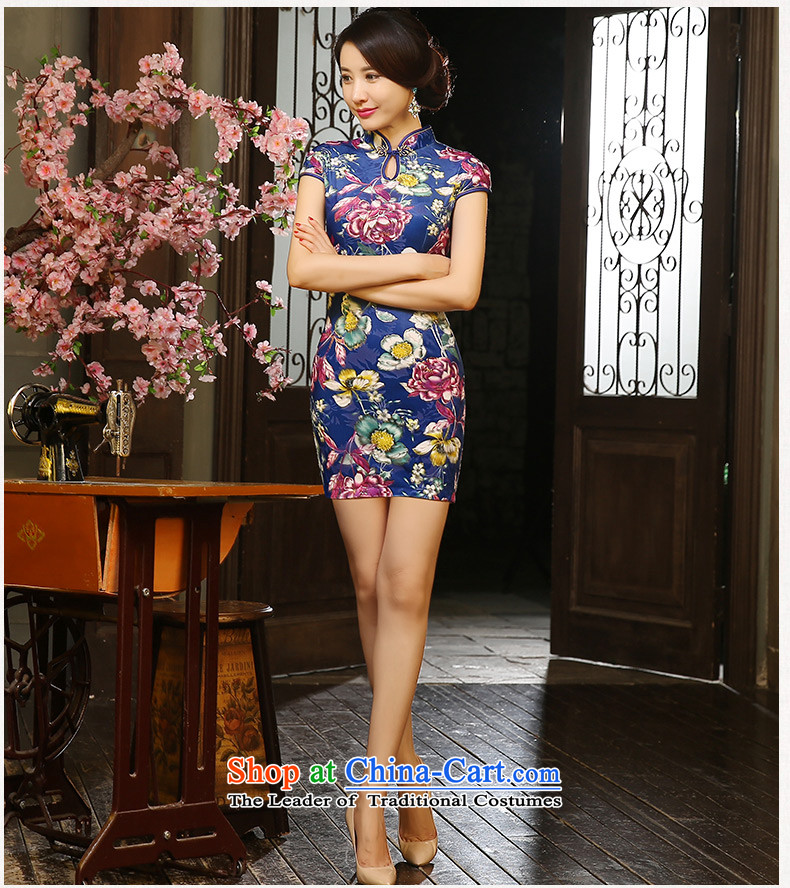 The cross-sa rainy night flower cheongsam dress autumn 2015 scouring pads with short, retro style qipao Ms. autumn improved cheongsam dress ZA9804 picture color S picture, prices, brand platters! The elections are supplied in the national character of distribution, so action, buy now enjoy more preferential! As soon as possible.