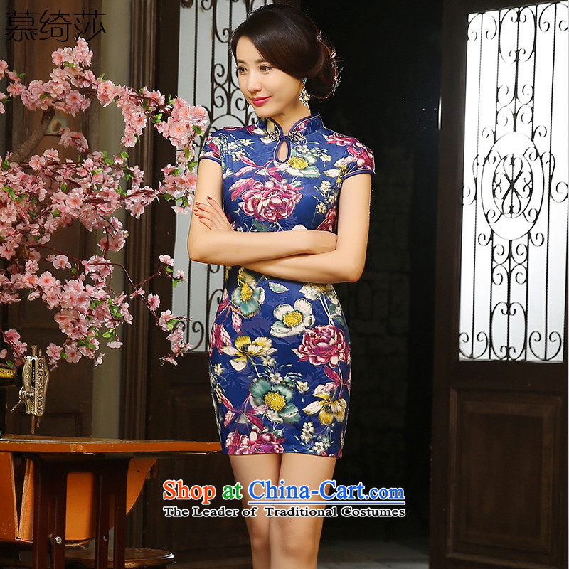 The cross-sa rainy night flower?cheongsam dress autumn 2015 scouring pads with short, retro style qipao Ms. autumn improved cheongsam dress?ZA9804?picture color?S