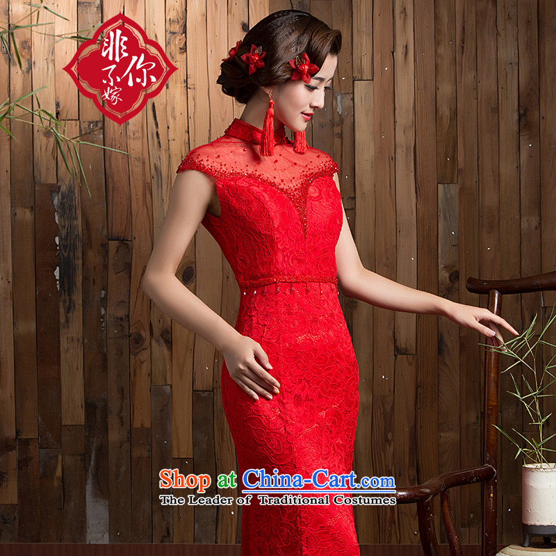 Non-you do not marry?2015 autumn and winter red lace cheongsam dress retro improved bride services elegant beauty bows small dress marriage the lift mast red?L no shawl