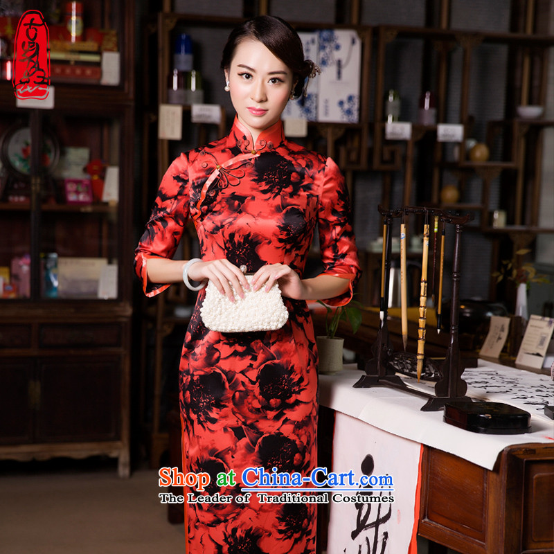 The Wu female red 2015 Fall_Winter Collections of silk cheongsam dress retro long of daily mother load of 7 qipao cuff upscale dinner dress dark red S