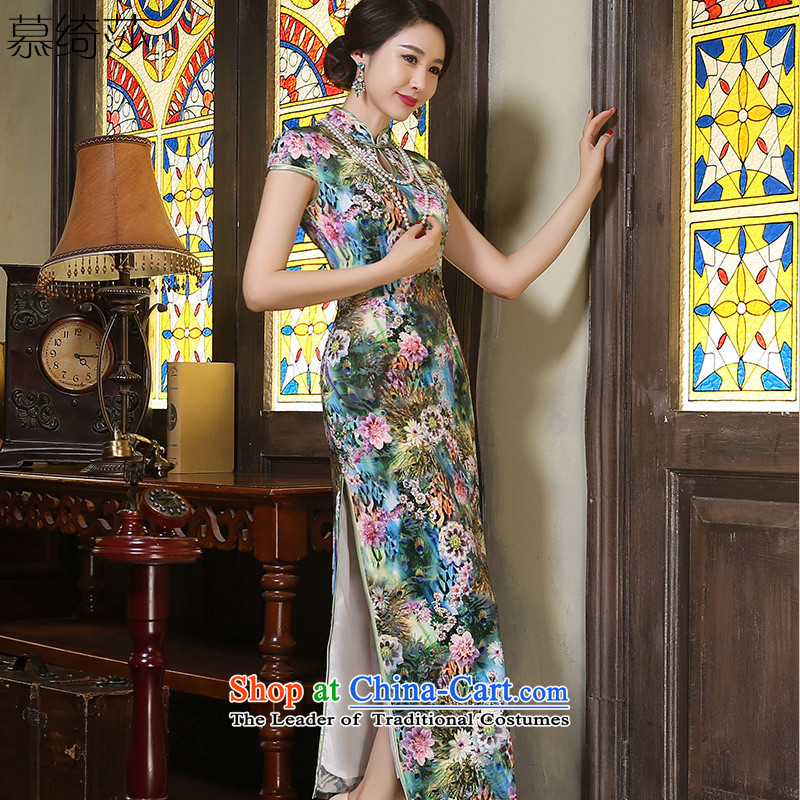 The cross-sa hyacinths velvet cheongsam long of autumn in the stylish retro qipao mother replacing Ms. older cheongsam dress?ZA9806?GREEN?S