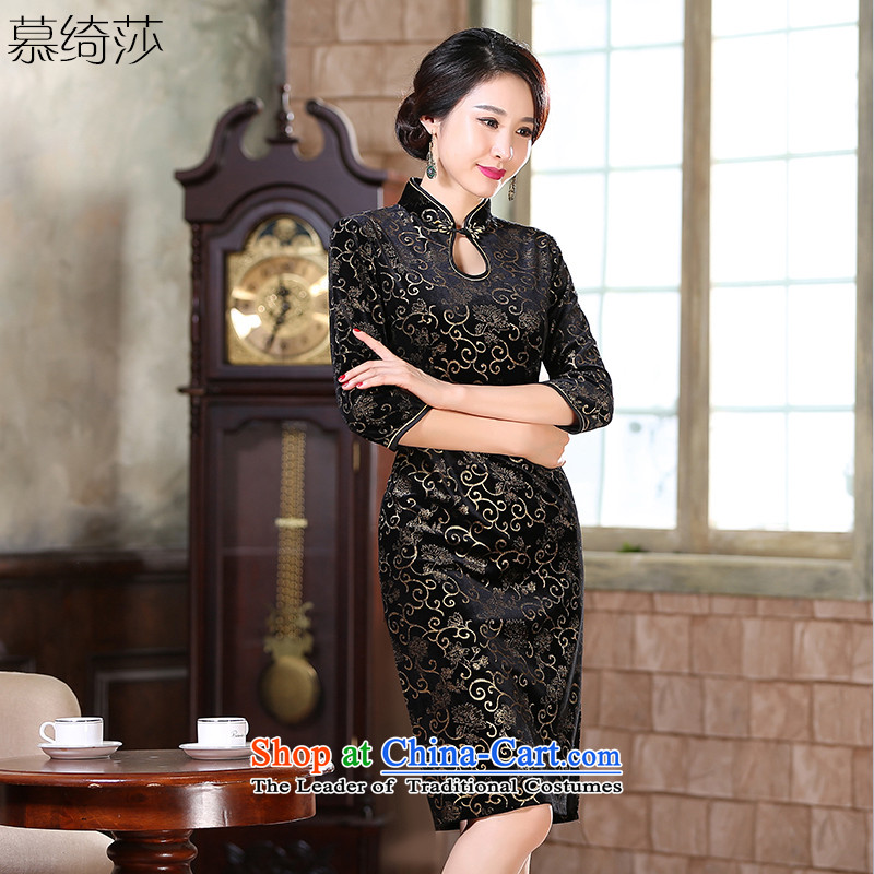 The cheer her not be perplexed�by 2015 gold velour robes in the stamp of qipao skirt in improvement of nostalgia for the older qipao gown ZA9807 replacing black mother�XL