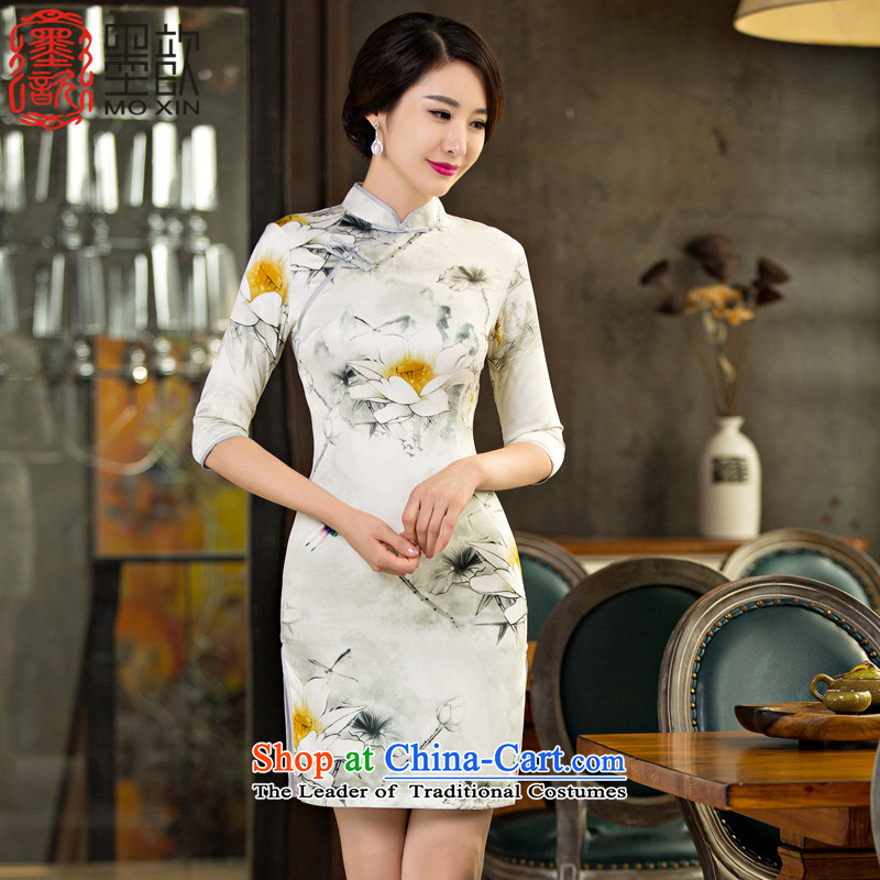 I should be grateful if you would have the ink 歆 Day?2015 new double qipao qipao improved retro fitted autumn in cuff cheongsam dress dress tea service?M11032?picture color?M