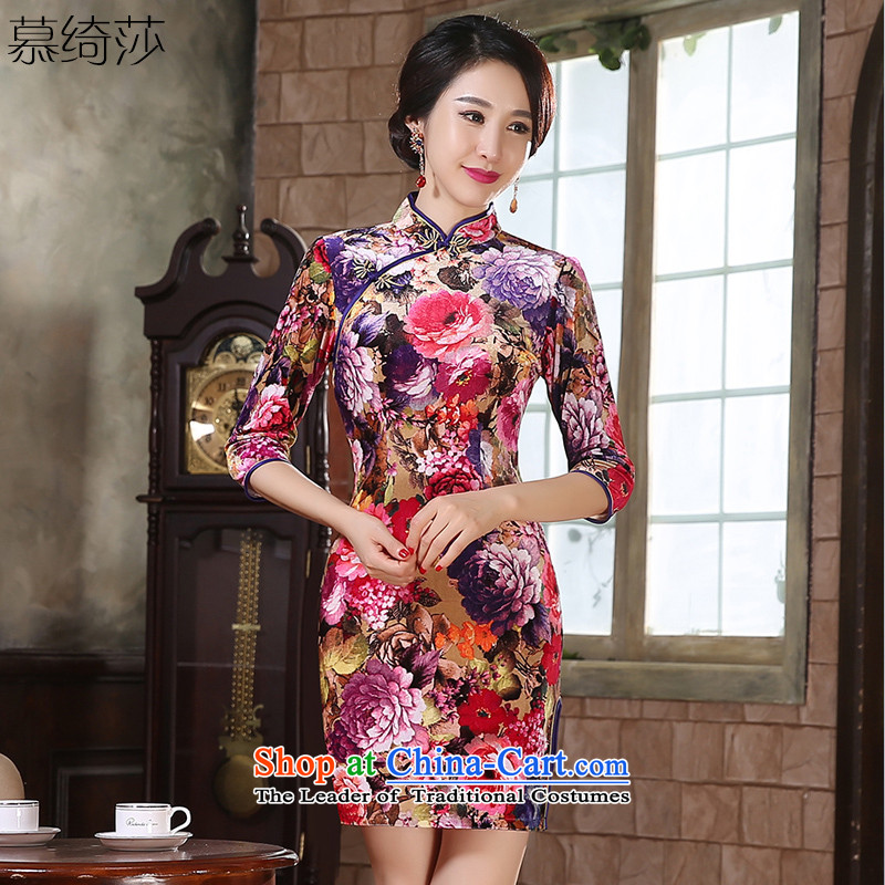 The cheer her flowers聽fall 2015 scouring pads qipao Zhengyan,new_ long skirt in cuff Ms. qipao improved cheongsam dress聽ZA9808聽picture color聽2XL