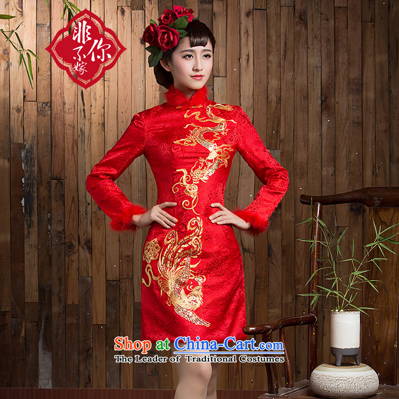 Non-you do not marry cheongsam dress Stylish retro 2015 short, Phoenix Chinese qipao Sau San improved wedding dress autumn and winter clothing RED M long-sleeved bows