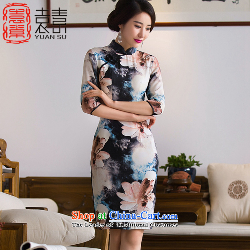 Yuan of night Lin?2015 improved load autumn qipao retro 7 Cuff. long skirt qipao gown cheongsam Ms. new ethnic?QD284?picture color?XL