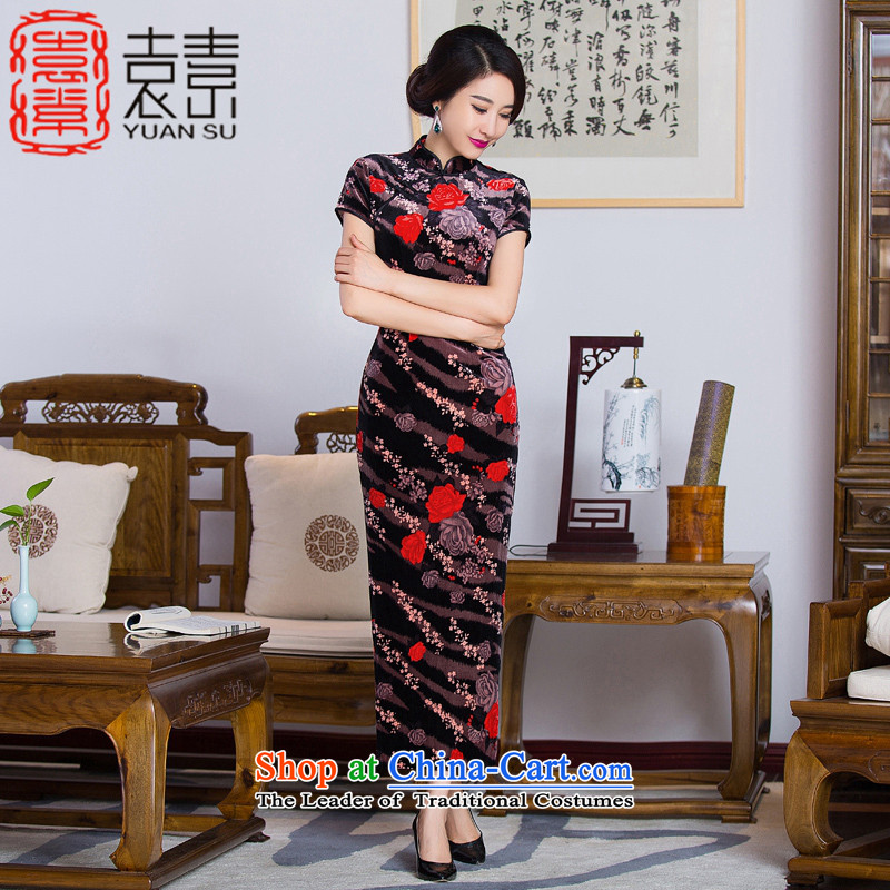 Yuan Hua Rong 2015 so long qipao and old age are scouring pads qipao gown cheongsam improved load mother in long QD285 picture color L
