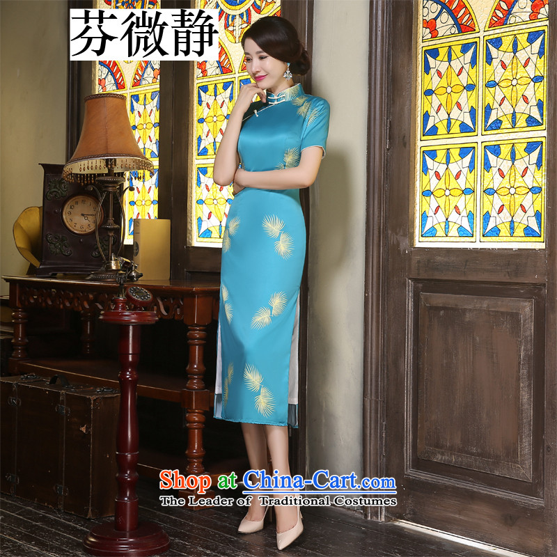 Leung Ching original Taoist priests micro-the same Hillwood Zhi Ling cheongsam long literary improvement manually stylish Silk Cheongsam company double annual dress with Lin Zhi Ling XXL