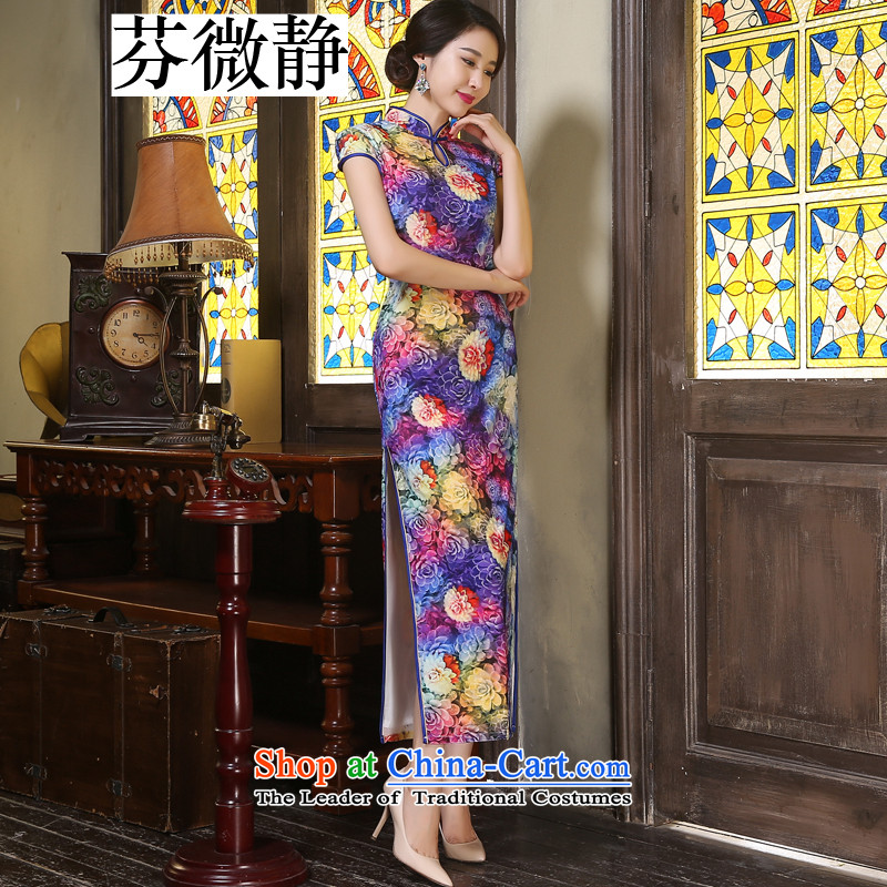 Stephen micro-ching Kim scouring pads pipa badges of long high Stylish retro look of the forklift truck improvements in the skirt qipao older companies with annual energy XXL
