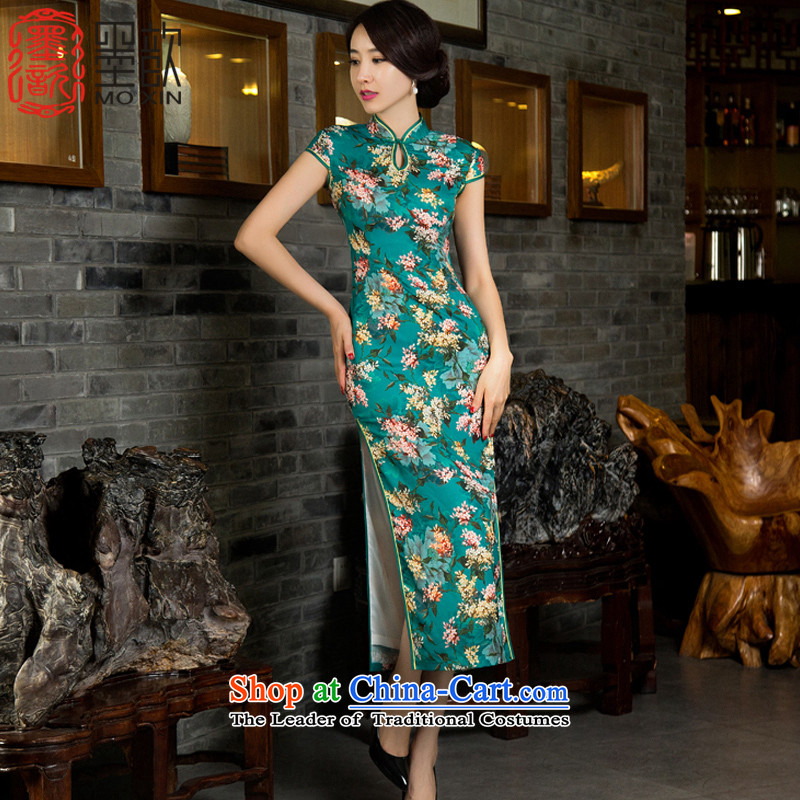 The creation of the Hong Kong�2015 Double ? long cheongsam with retro improvement of the Sau San autumn in long qipao cheongsam dress temperament and stylish SAIKA�M11033�GREEN�S