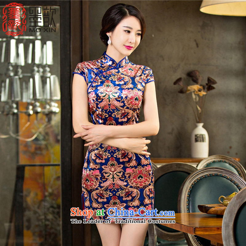 The early autumn 2015 Sophie 歆 load new moms load qipao qipao older scouring pads qipao improved retro palace qipao skirt M65097 wind picture color XXL
