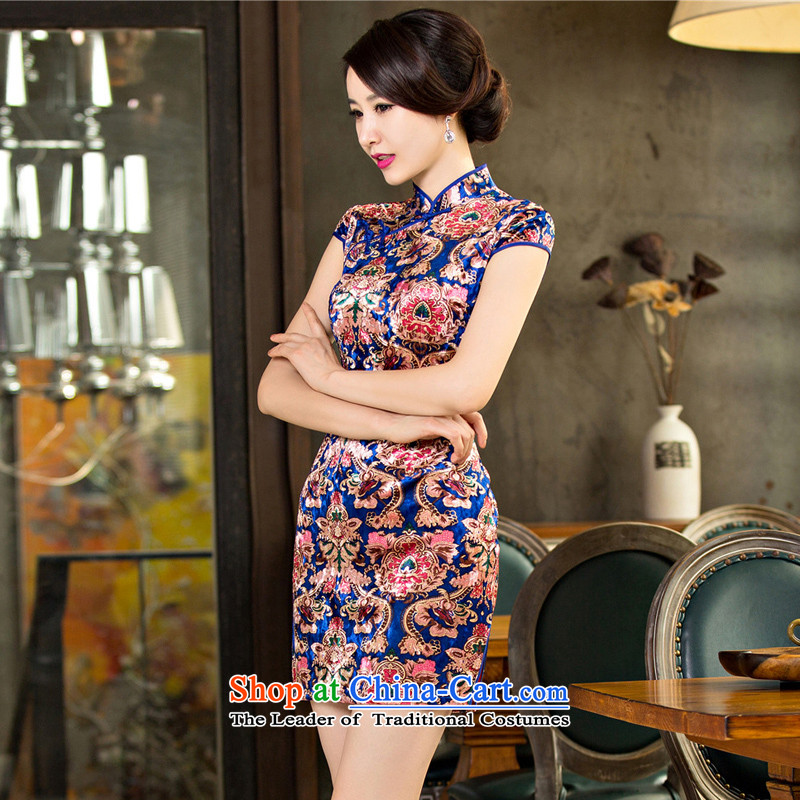 The early autumn 2015 Sophie 歆 load new moms load qipao qipao older scouring pads qipao improved retro palace qipao skirt M65097 wind Picture Color Ink (MOXIN 歆 XXL,) , , , shopping on the Internet