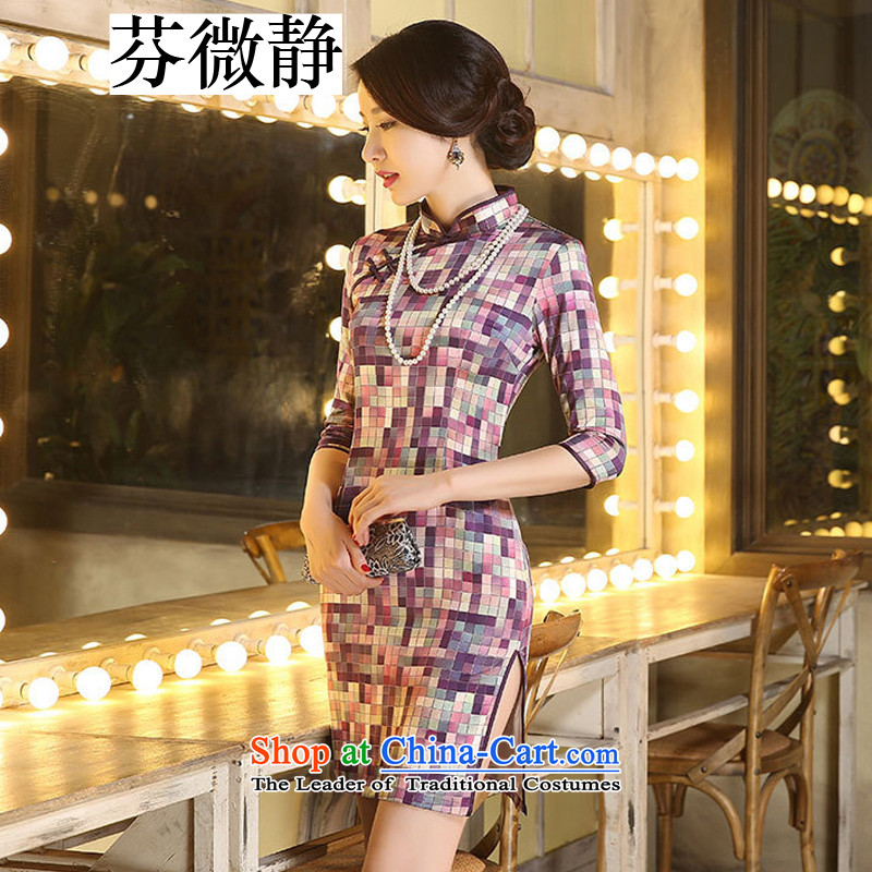 Stephen micro-ching silk 7 cuff of the forklift truck double qipao low improvement of nostalgia for the grid style arts company annual Sau San will dress camouflage of XL