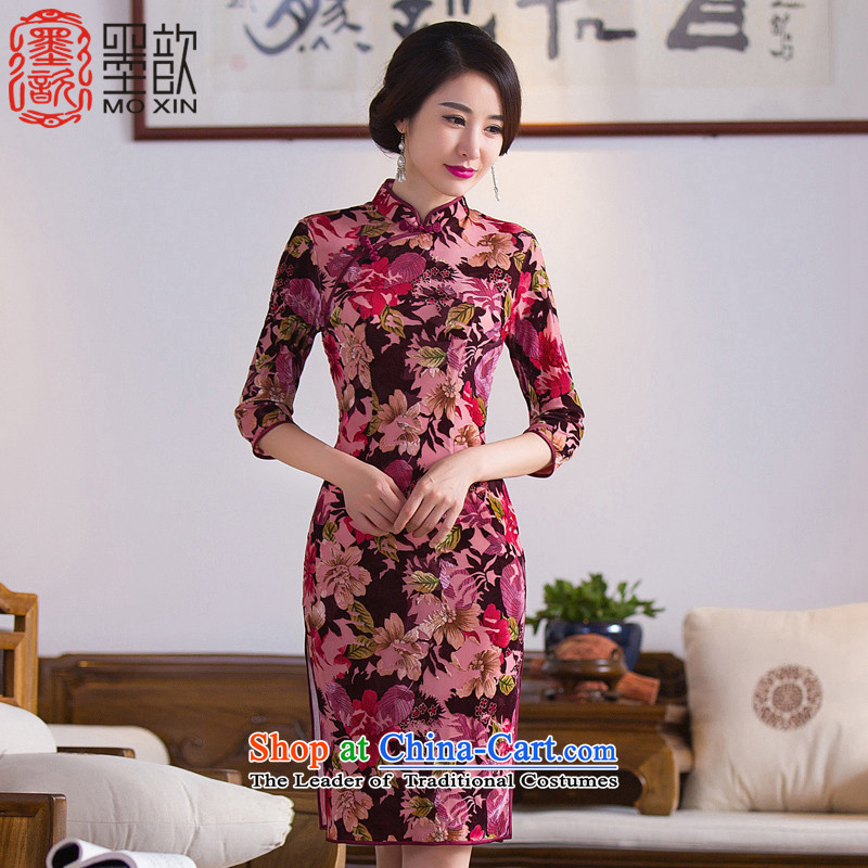 The Mute to�15 retro ? improved qipao autumn new_ cuff qipao gown in load mother long cheongsam dress燪D281爌icture color燣