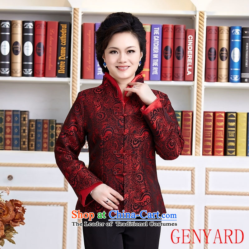 In the number of older women's GENYARD Chun Ms. Blouses Tang long-sleeve sweater with Chinese boxed workwear red XXXXL Bride