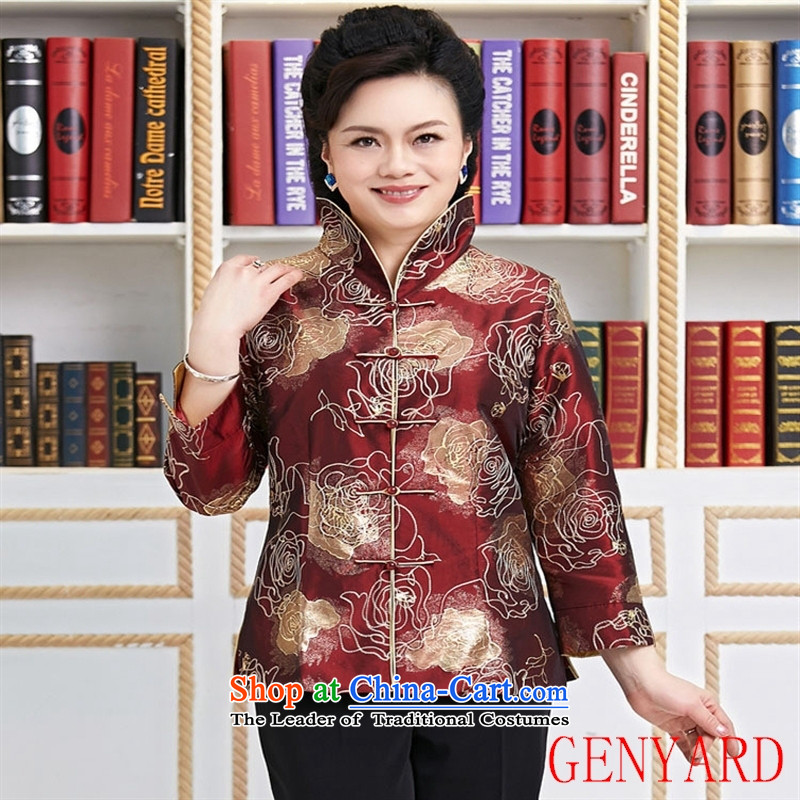 Genyard2015 spring and summer new Tang dynasty women clothes embroidery Chinese Jacket Foutune of video to disc is deducted thin collar brown�L