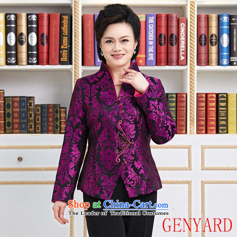 Ms. older GENYARD Tang dynasty Long-sleeve temperament as the spring and autumn jacket decorated mother coat purple purple聽L