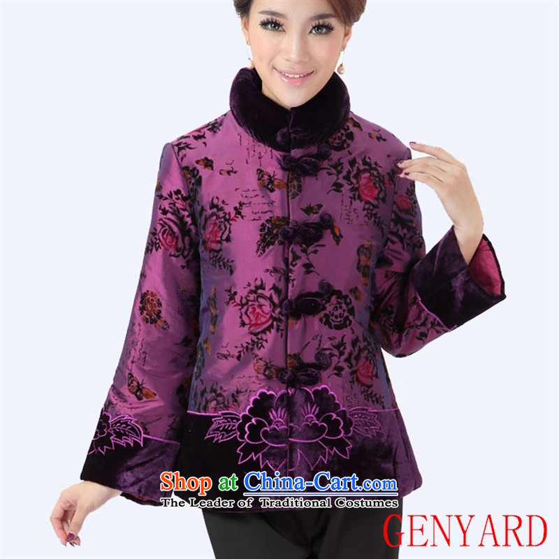 The elderly in the Chinese improvement GENYARD Tang dynasty mother coat retro-tie jacket national flocking Fall_Winter Collections figure XXXL
