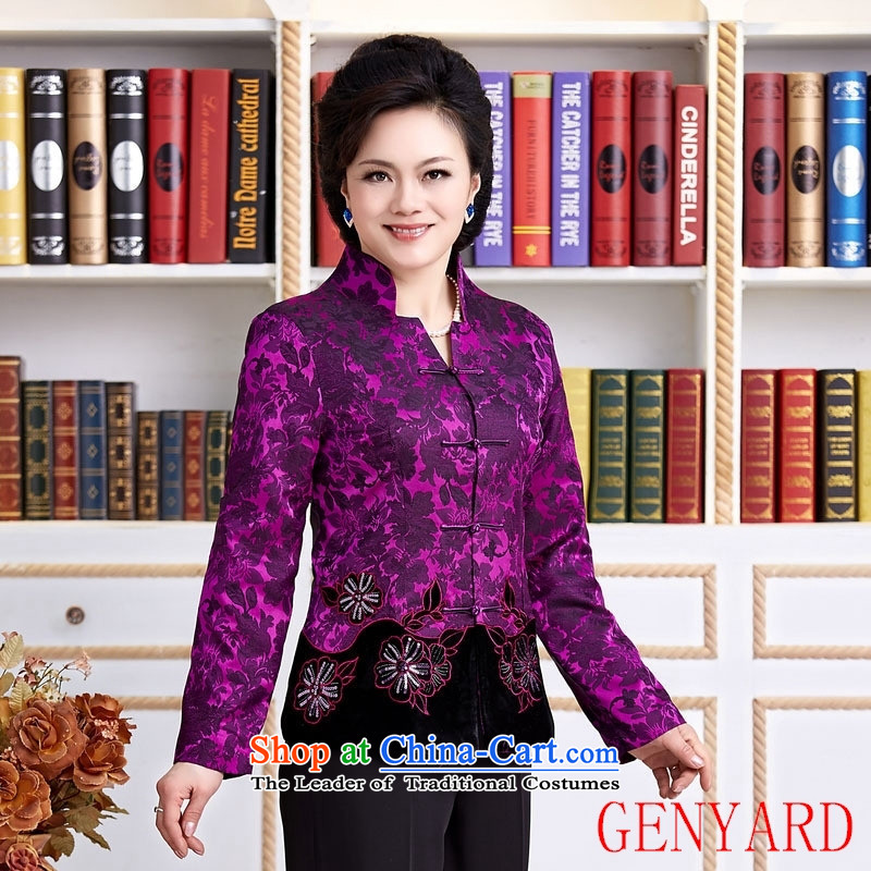 The elderly in new GENYARD female Chinese Tang blouses jacket festive Tang dynasty mother replacing invitation purple聽M