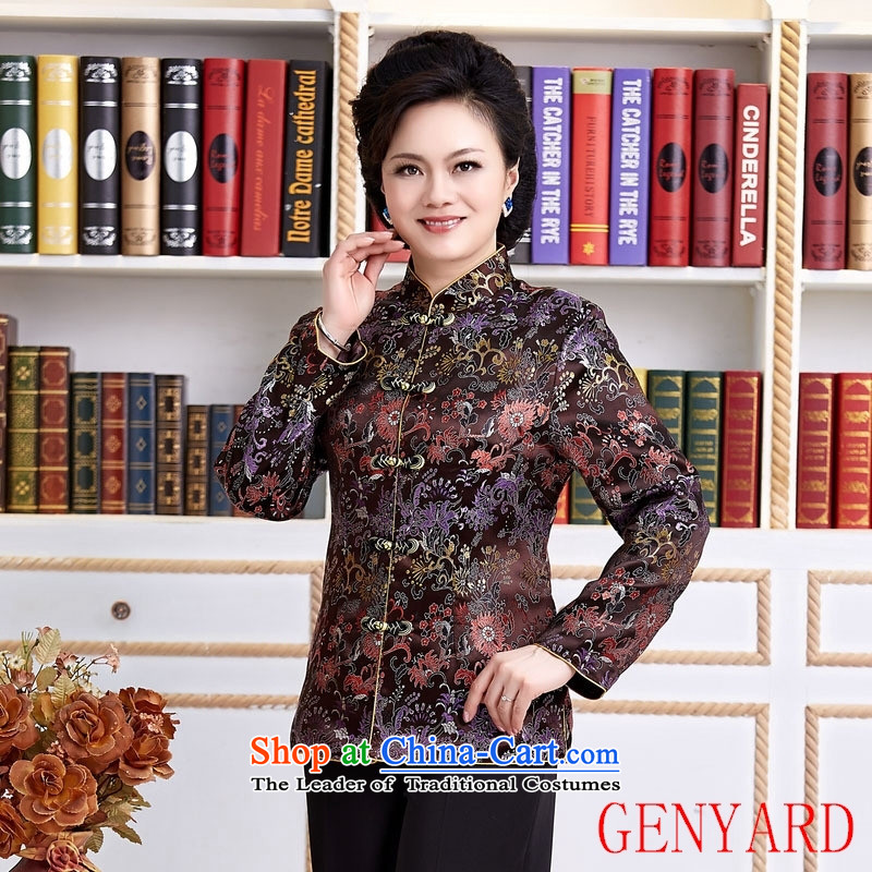 The elderly in new GENYARD ethnic Chinese President Tang dynasty improved long-sleeved load spring and autumn mother blouses female red聽XXXXL